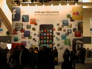 People milling around the Apple Booth at Macworld 2009
